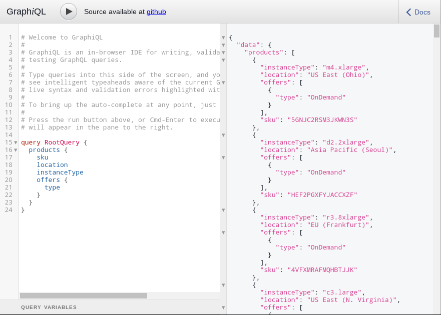 Playing with Facebook's GraphQL (for AWS products and offers